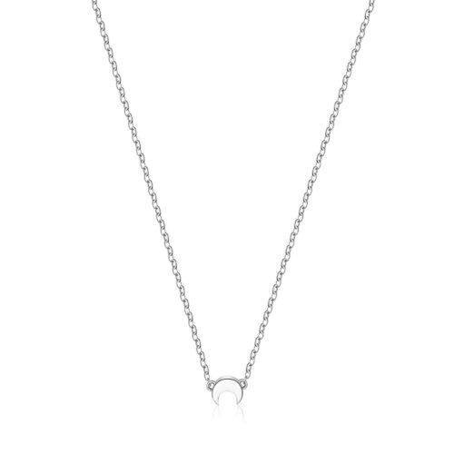 Collana S'agapò SCK07 della collezione Happy. Collana in acciaio 316L con pendente a forma di luna. Misura collana: 43 cm.