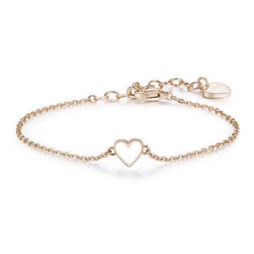 Bracciale Donna S'agapò SCK13. Bracciale in acciaio 316L placcato oro rosa ed elemento a forma di cuore smaltato. Misura bracciale: 18,5 cm.
