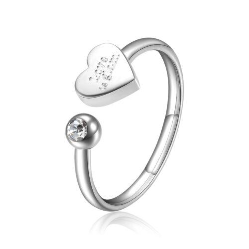 """Anello S'agapò SCK88 della collezione Click. Anello in acciaio 316L con cuore con incisione """"Love is glam"""" e cristallo. Misura unica."""