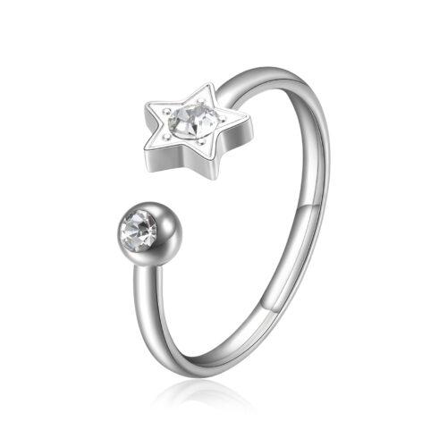 Anello S'agapò SCK89 della collezione Click. Anello in acciaio 316L con stella e cristallo. Misura unica.