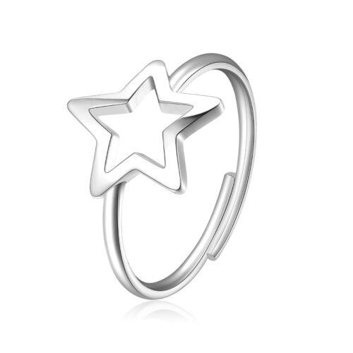 Anello S'agapò SCK91 della collezione Click. Anello in acciaio 316L con stella traforata. Misura unica.