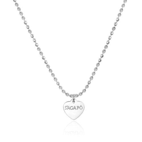 Collana S'agapò SHAC42 della collezione Happy. Collana componibile in acciaio 316L con pendente a forma di cuore. Misura collana: 44 cm.
