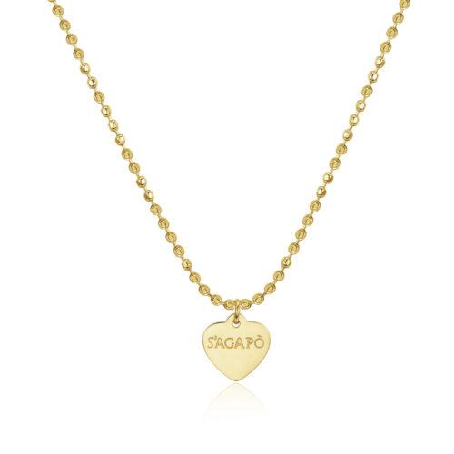 Collana S'agapò SHAC43 della collezione Happy. Collana componibile in acciaio 316L con finitura gold e pendente a forma di cuore. Misura collana: 44 cm.