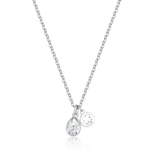 """Collana S'agapò SKT06 della collezione Happy. Collana in acciaio 316L con cristallo e pendente con quadrifoglio e scritta """"Luck"""" - """"Fortuna"""". Misura collana: 44 cm."""
