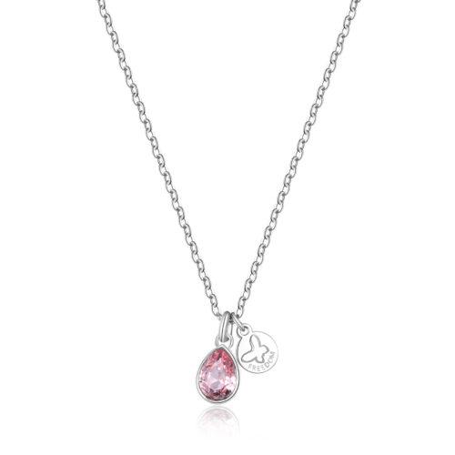 """Collana S'agapò SKT07 della collezione Happy. Collana in acciaio 316L con cristallo rosa e pendente con farfalla e scritta """"Freedom"""" - """"Libertà"""". Misura collana: 44 cm."""
