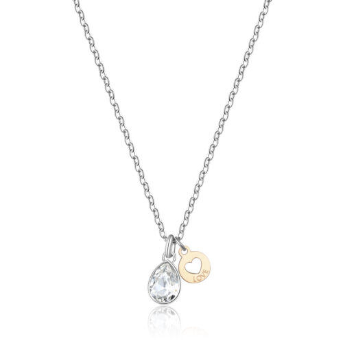 """Collana S'agapò SKT09 della collezione Happy. Collana in acciaio 316L con cristallo e pendente con finitura oro, cuore e scritta """"Love"""". Misura collana: 44 cm."""