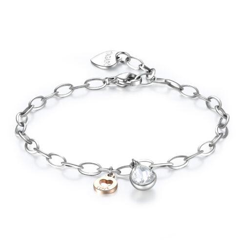 Bracciale Donna S'agapò SKT19. Bracciale in acciaio 316L con cristallo, pendente con cuore, finitura oro rosa e scritta Love. Misura bracciale: 19,5 cm.