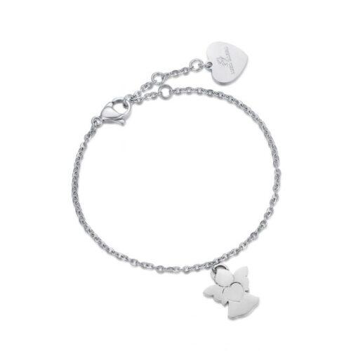 Bracciale Donna Luca Barra BK1910. Bracciale in acciaio con ciondolo a forma di angelo. Lunghezza: 18 cm; regolabile grazie alla chiusura a moschettone.