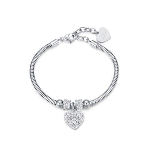 Bracciale Donna Luca Barra BK1933. Bracciale in acciaio con ciondolo a forma di cuore in pavè di zirconi. Lunghezza: 19,5 cm; regolabile grazie alla chiusura a moschettone.