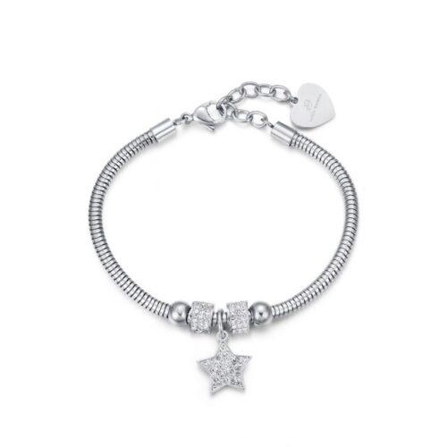 Bracciale Donna Luca Barra BK1937. Bracciale in acciaio con ciondolo a forma di stella in pavè di zirconi. Lunghezza: 19,5 cm; regolabile grazie alla chiusura a moschettone.