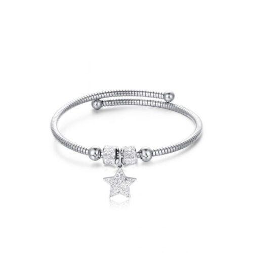 Bracciale Donna Luca Barra BK1945. Bracciale in acciaio con ciondolo a forma di stella in pavè di zirconi. Apertura estensibile.