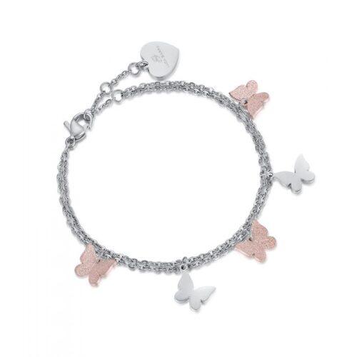 Bracciale Donna Luca Barra BK1888. Bracciale in acciaio con ciondoli a forma di farfalla, tre dei quali con pvd rosè e glitter. Lunghezza: 19 cm.