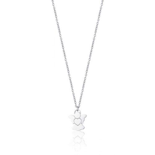 Collana Donna Luca Barra CK1472. Collana in acciaio con ciondolo a forma di angelo 1,3 x 1,5 cm. Lunghezza: 43 cm.