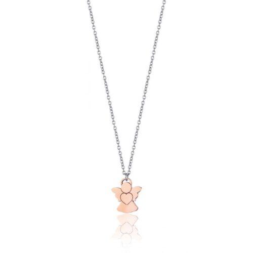 Collana Donna Luca Barra CK1473. Collana in acciaio con pvd rosè e ciondolo a forma di angelo 1,3 x 1,5 cm. Lunghezza: 43 cm.