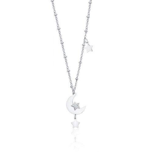 Collana Donna Luca Barra CK1485. Collana in acciaio con ciondolo a forma di luna e stella con zirconi. Lunghezza: 45 cm.