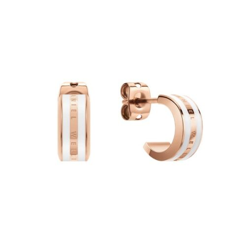 Orecchini Daniel Wellington DW00400148 della collezione Emalie Earrings. Orecchini in acciaio inossidabile (316L) con placcatura in oro rosato e smalto bianco.