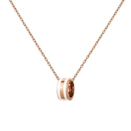 Collana Daniel Wellington DW00400153 della collezione Emalie Necklace. Collana in acciaio inossidabile (316L) con placcatura in oro rosato e smalto bianco.