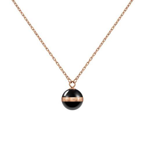 Collana Daniel Wellington DW00400156 della collezione Aspiration Necklace. Collana in ceramica nera e acciaio inossidabile (316L) con placcatura in oro rosato.