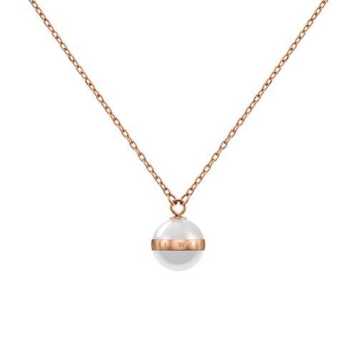 Collana Daniel Wellington DW00400157 della collezione Aspiration Necklace. Collana in ceramica bianca e acciaio inossidabile (316L) con placcatura in oro rosato.
