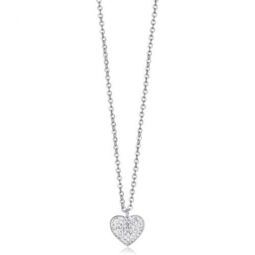 Collana Donna Luca Barra CK1285. Collana in acciaio con ciondolo a forma di cuore in pavè di zirconi. Lunghezza: 45 cm.