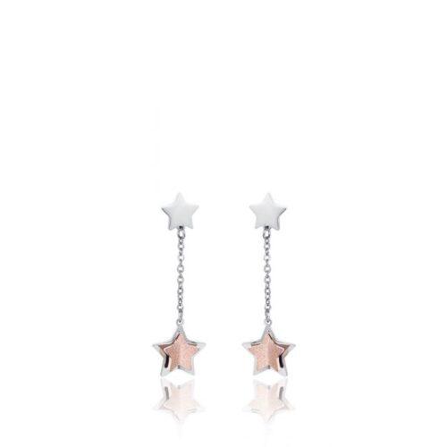 Orecchini Donna Luca Barra OK1074. Orecchini pendenti in acciaio con ciondoli a forma di stella, pvd rosè e glitter. Lunghezza: 4,5 cm.