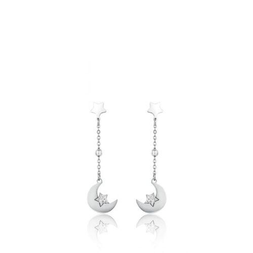 Orecchini Donna Luca Barra OK1079. Orecchini pendenti in acciaio con ciondoli a forma di luna e stella con zirconi. Lunghezza: 5 cm.