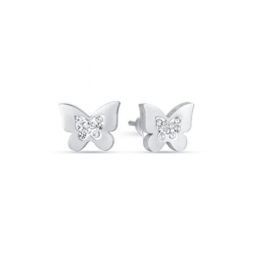 Orecchini Donna Luca Barra OK1082. Orecchini a lobo in acciaio a forma di farfalla con cristalli bianchi.