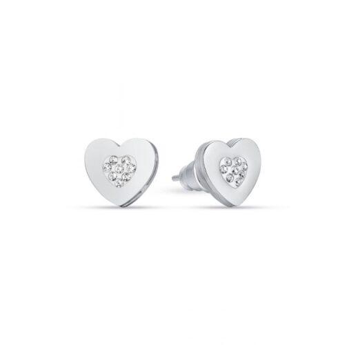 Orecchini Donna Luca Barra OK1084. Orecchini a lobo in acciaio a forma di cuore con cristalli bianchi.