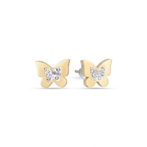 Orecchini Donna Luca Barra OK1086. Orecchini a lobo in acciaio a forma di farfalla con pvd oro e cristalli bianchi.