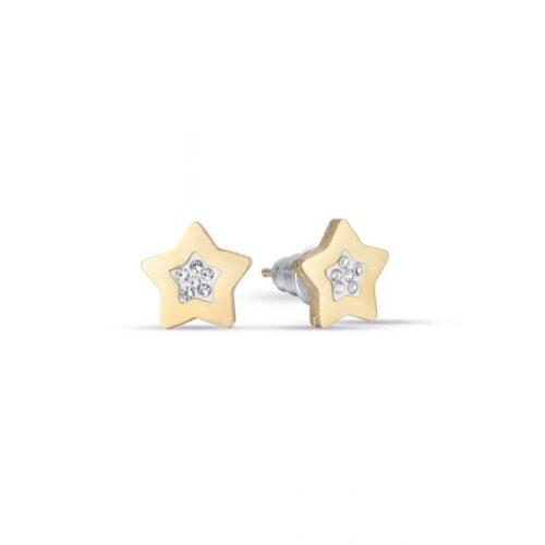Orecchini Donna Luca Barra OK1087. Orecchini a lobo in acciaio a forma di stella con pvd oro e cristalli bianchi.