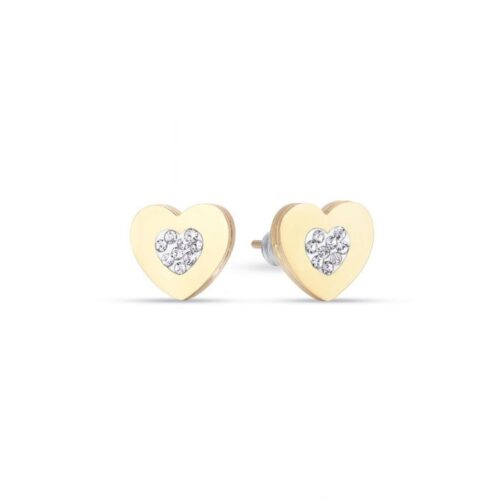 Orecchini Donna Luca Barra OK1088. Orecchini a lobo in acciaio a forma di cuore con pvd oro e cristalli bianchi.