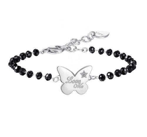 """Bracciale Donna S'agapò SBML03. Bracciale in acciaio 316L con cristalli neri ed elemento a forma di farfalla con scritta """"Love me""""- """"Amo me"""". Misura bracciale: 19 cm."""