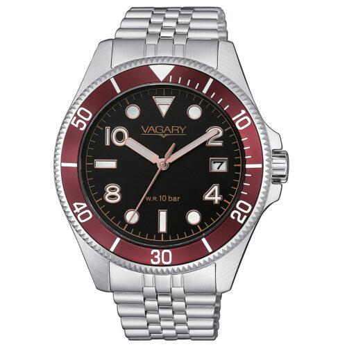 Orologio Uomo Vagary Aqua39 Solotempo VD5-015-53con cassa di 41 mm, bracciale in acciaio e quadrante nero. Movimento al quarzo e resistenza all'acqua 10 bar.