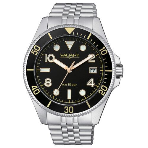 Orologio Uomo Vagary Aqua39 Solotempo VD5-015-55 con cassa di 41 mm, bracciale in acciaio e quadrante nero con indici color oro. Movimento al quarzo e resistenza all'acqua 10 bar.