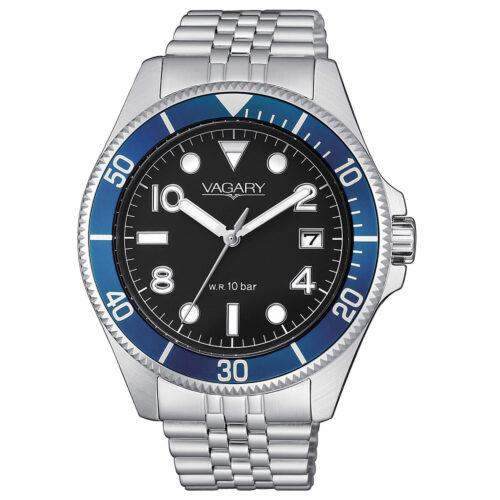 Orologio Uomo Vagary Aqua39 Solotempo VD5-015-57con cassa di 41 mm, bracciale in acciaio e quadrante nero. Movimento al quarzo e resistenza all'acqua 10 bar.