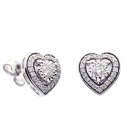 Orecchini Bliss Donna 20087975 della collezione Rugiada. Orecchini a forma di cuore in oro bianco 18 carati con diamanti taglio brillante di 0,36 carati.