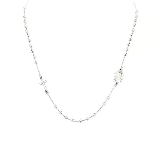 Collana Donna Amen CROB25. Collana girocollo della collezione Rosari in argento 925 rodiato con grani di 2 mm.