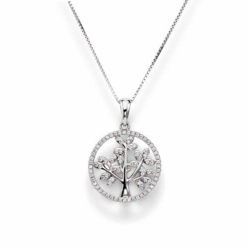 Collana Donna Amen CLTL2. Collana in argento 925 con ciondolo Ø 2 cm a forma di albero della vita, circondato da zirconi bianchi. Lunghezza: 42 cm.
